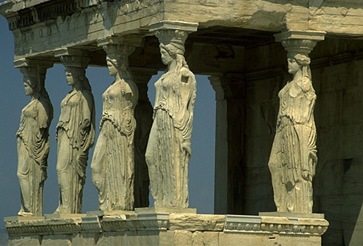 Caryatid Porch of the Erechtheion. Southeast corner. View from the southeast.