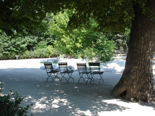 CHAIRS AND TREE - Chairs under a tree in the National Gardens of Athens (Vassilikos Kipos in greek)
