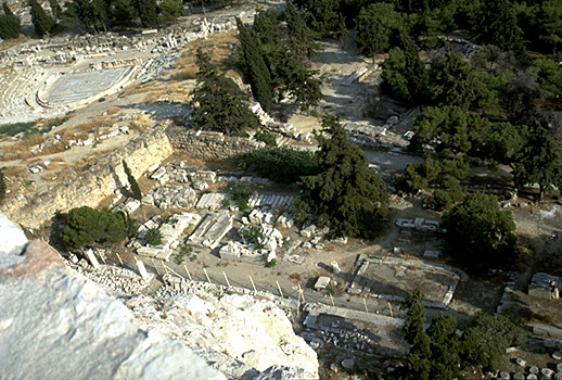 The South Slope of the Acropolis. - Theater of Dionysos and Asklepieion. View from the south wall of the Acropolis.
