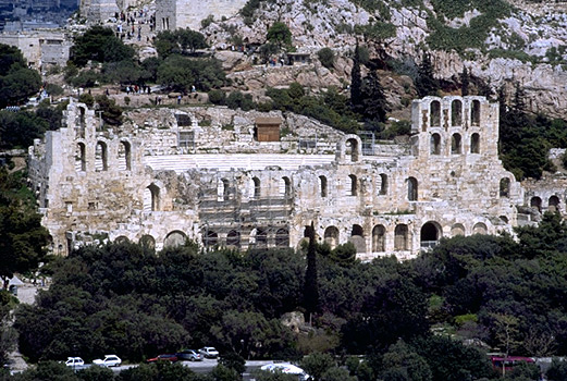 The Odeion of Herodes Atticus on the South Slope of the Acropolis (western half). - View from the southwest (from the Philopappos Monument). Photo taken in 1998.
